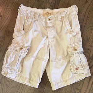Hollister Light Khaki Distressed Cargo Shorts
